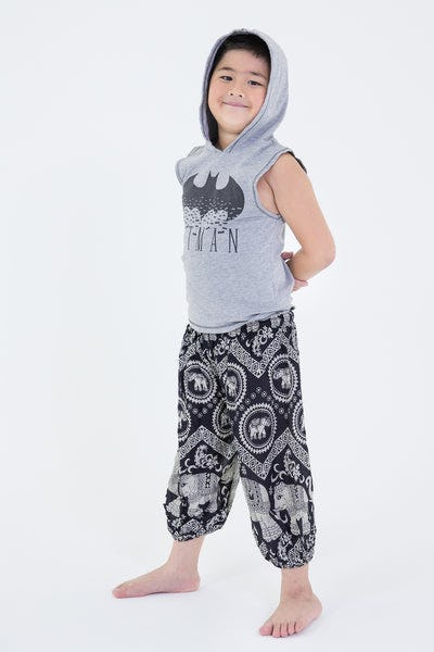 Imperial Elephant Kids Harem Pants in Black