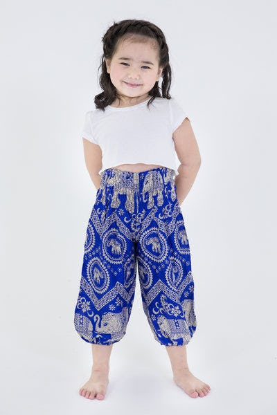 Imperial Elephant Kids Harem Pants in Blue