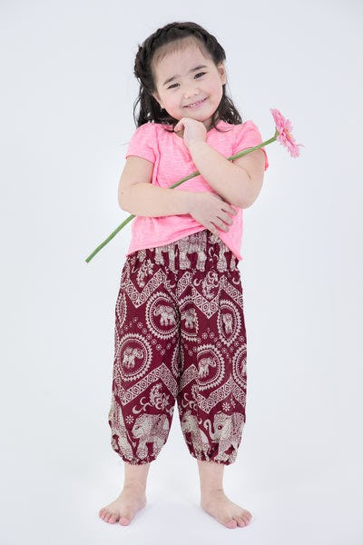 Imperial Elephant Kids Harem Pants in Red