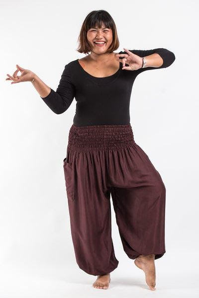 Plus Size Solid Color Women's Harem Pants in Brown