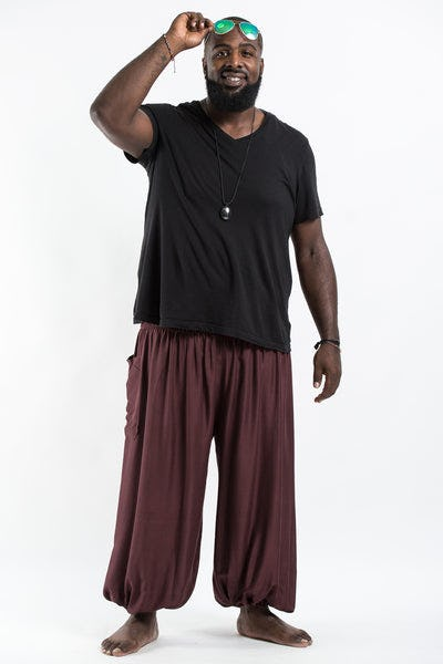 Plus Size Solid Color Men's Harem Pants in Brown
