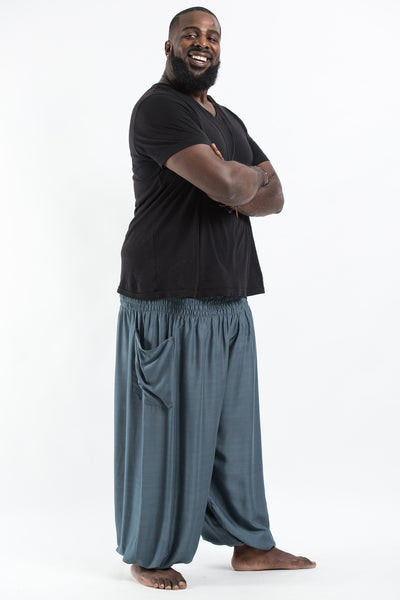 Plus Size Solid Color Men's Harem Pants in Gray