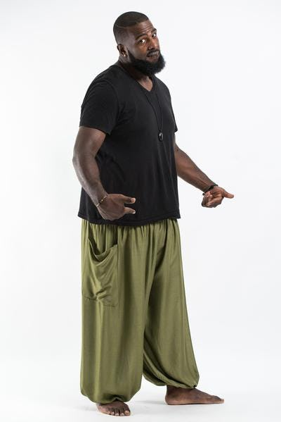 Plus Size Solid Color Men's Harem Pants in Olive