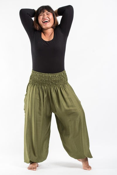 Plus Size Solid Color Women's Harem Pants in Olive