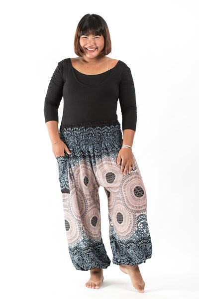 Plus Size Geometric Mandalas Women's Harem Pants in Silver Gray