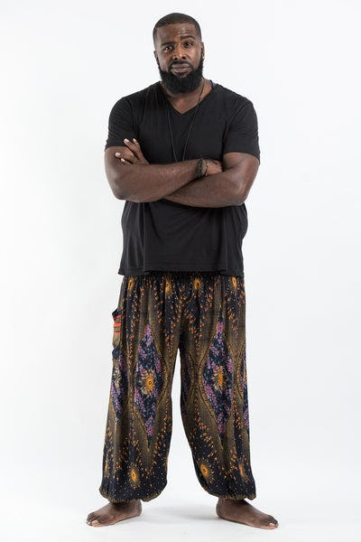 Plus Size Peacock Eye Men's Harem Pants in Black