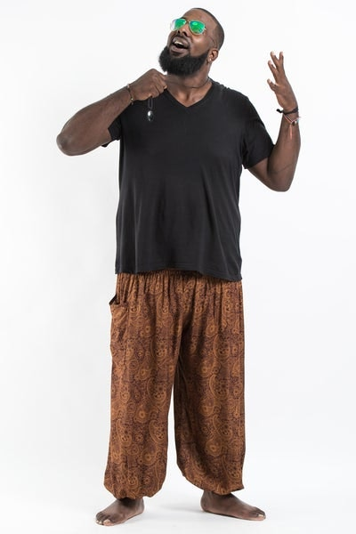 Plus Size Royal Paisley Men's Harem Pants in Brown
