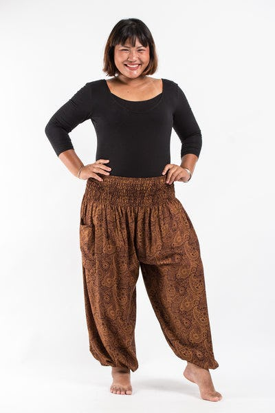 Plus Size Royal Paisley Women's Harem Pants in Brown