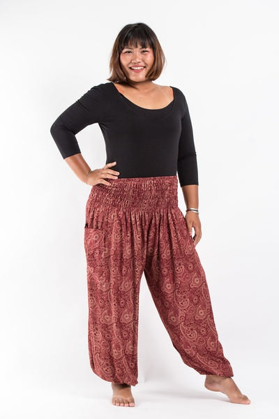 Plus Size Royal Paisley Women's Harem Pants in Masala Red
