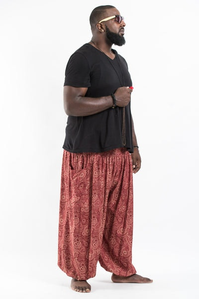 Plus Size Royal Paisley Men's Harem Pants in Masala Red