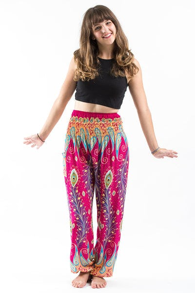 Peacock Paisley Women's Harem Pants in Pink