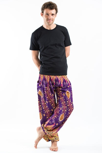 Peacock Paisley Men's Harem Pants in Purple