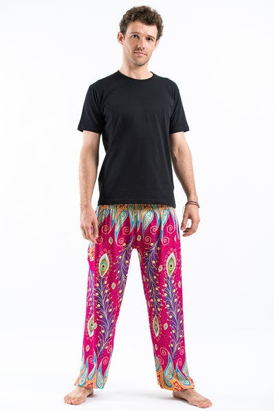 Peacock Paisley Men's Harem Pants in Pink