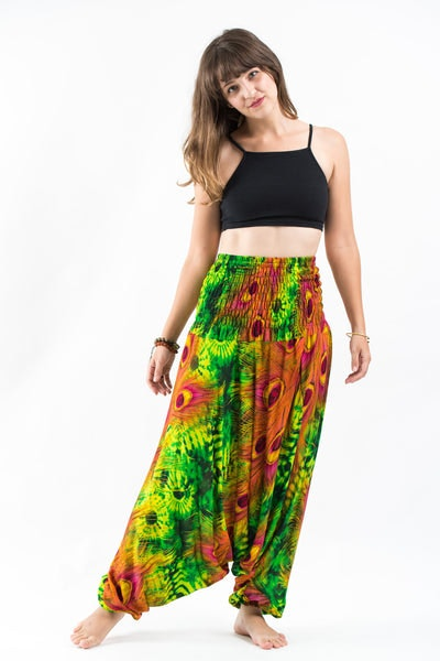 Tie Dye Peacock Jumpsuit Harem Pants in Green