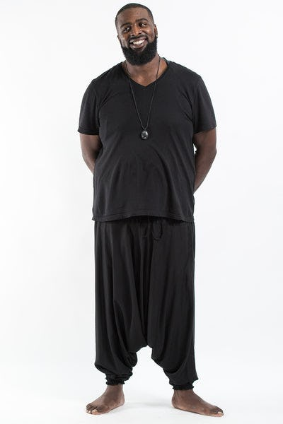 Plus Size Solid Color Drop Crotch Men's Harem Pants in Black