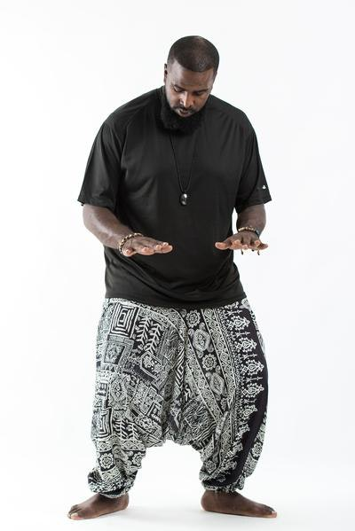 Plus Size Tribal Prints Drop Crotch Men's Harem Pants in Black