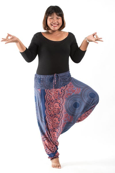 Plus Size Geometric Mandalas Drop Crotch Women's Harem Pants in Blue