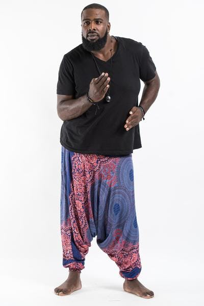 Plus Size Geometric Mandalas Drop Crotch Men's Harem Pants in Blue