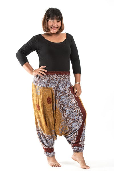 Plus Size Geometric Mandalas Drop Crotch Women's Harem Pants in Bronze