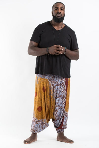 Plus Size Geometric Mandalas Drop Crotch Men's Harem Pants in Bronze