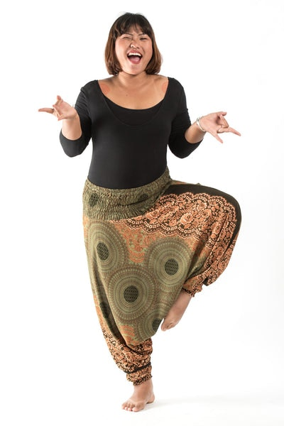 Plus Size Geometric Mandalas Drop Crotch Women's Harem Pants in Olive