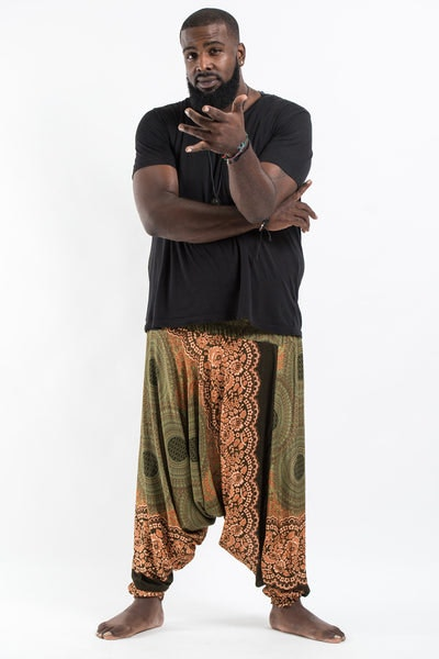 Plus Size Geometric Mandalas Drop Crotch Men's Harem Pants in Olive