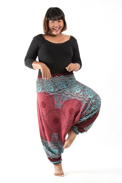 Plus Size Geometric Mandalas Drop Crotch Women's Harem Pants in Red