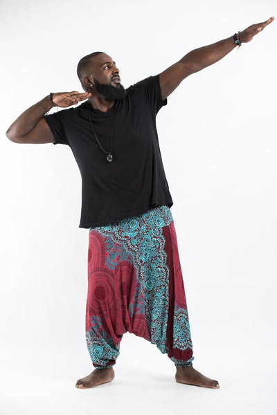 Plus Size Geometric Mandalas Drop Crotch Men's Harem Pants in Red