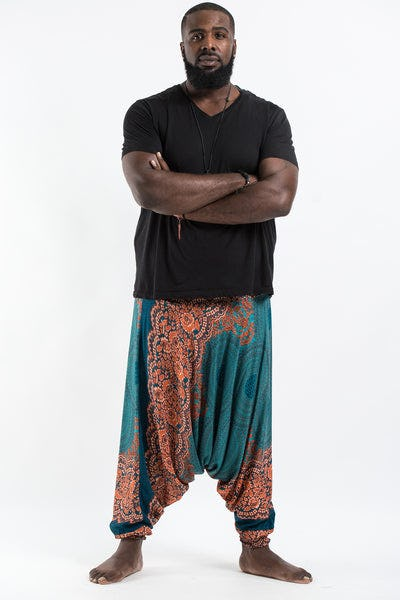 Plus Size Geometric Mandalas Drop Crotch Men's Harem Pants in Turquoise