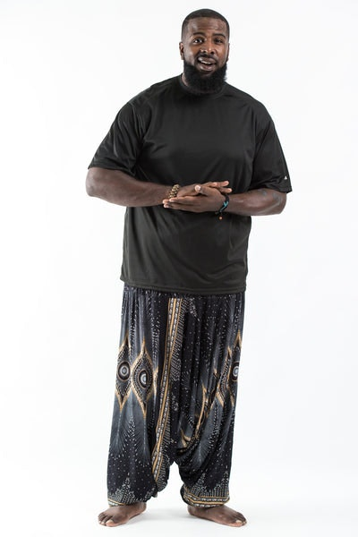 Plus Size Diamond Peacock  Drop Crotch Men's Harem Pants in Black