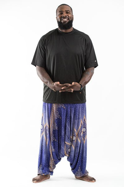Plus Size Diamond Peacock  Drop Crotch Men's Harem Pants in Blue