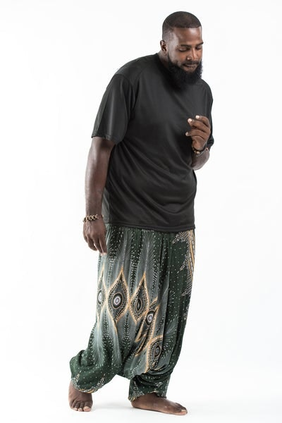 Plus Size Diamond Peacock  Drop Crotch Men's Harem Pants in Green