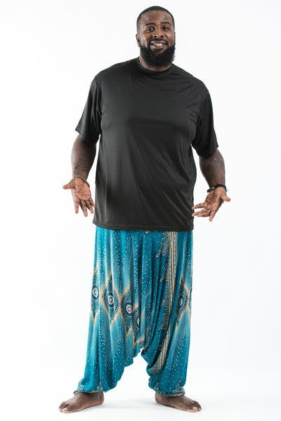 Plus Size Diamond Peacock  Drop Crotch Men's Harem Pants in Turquoise