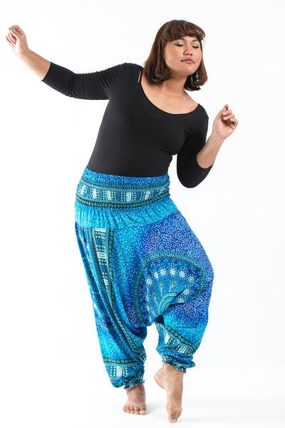 Plus Size Tribal Chakras  Drop Crotch Women's Harem Pants in Blue