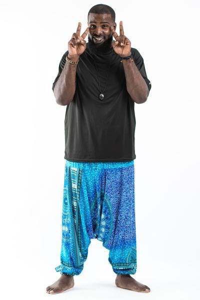 Plus Size Tribal Chakras Drop Crotch Men's Harem Pants in Blue