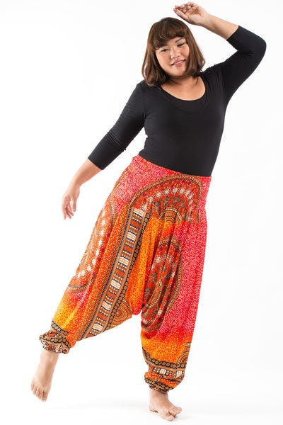 Plus Size Tribal Chakras  Drop Crotch Women's Harem Pants in Orange