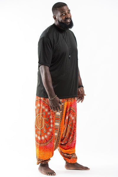 Plus Size Tribal Chakras  Drop Crotch Men's Harem Pants in Orange