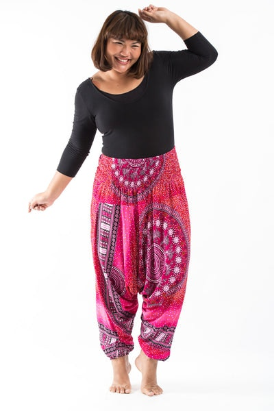 Plus Size Tribal Chakras  Drop Crotch Women's Harem Pants in Pink