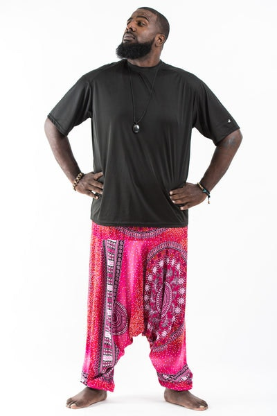 Plus Size Tribal Chakras  Drop Crotch Men's Harem Pants in Pink