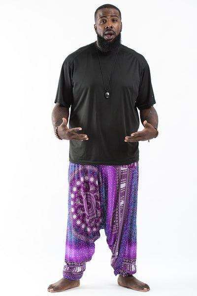 Plus Size Tribal Chakras  Drop Crotch Men's Harem Pants in Purple