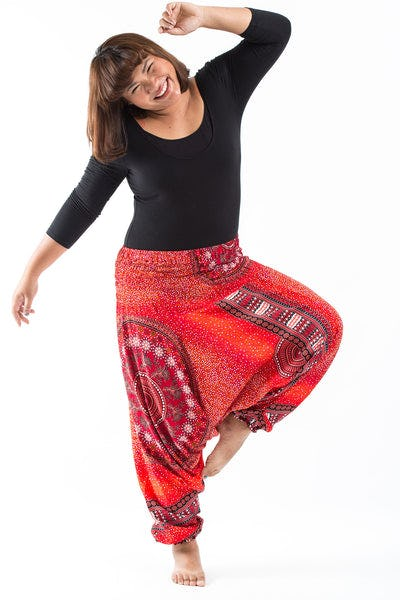Plus Size Tribal Chakras  Drop Crotch Women's Harem Pants in Red