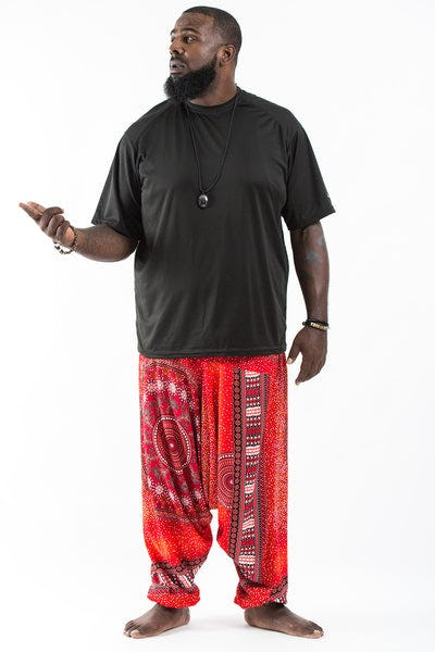 Plus Size Tribal Chakras  Drop Crotch Men's Harem Pants in Red