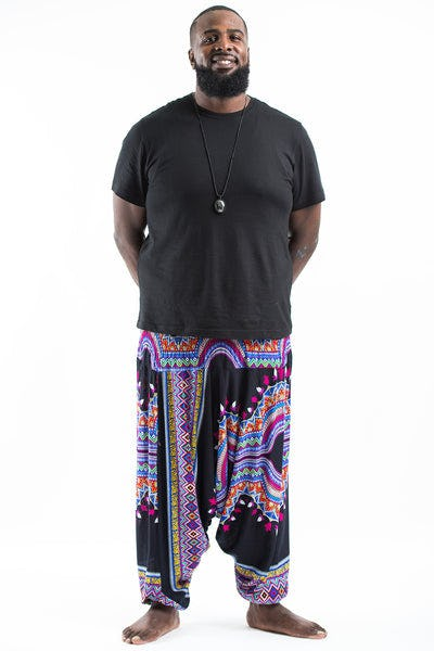 Plus Size Dashiki Prints Drop Crotch Men's Harem Pants in Black