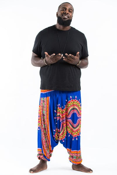 Plus Size Dashiki Prints  Drop Crotch Men's Harem Pants in Blue