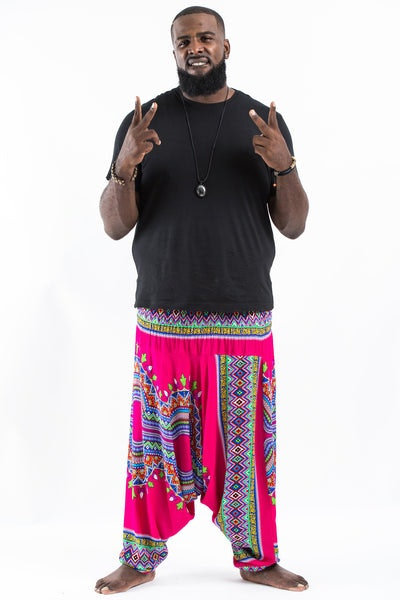 Plus Size Dashiki Prints  Drop Crotch Men's Harem Pants in Pink