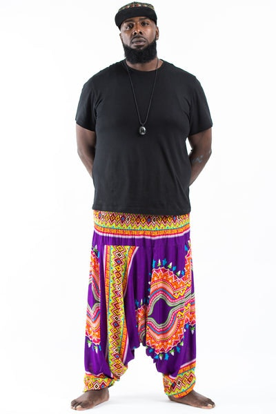 Plus Size Dashiki Prints  Drop Crotch Men's Harem Pants in Purple