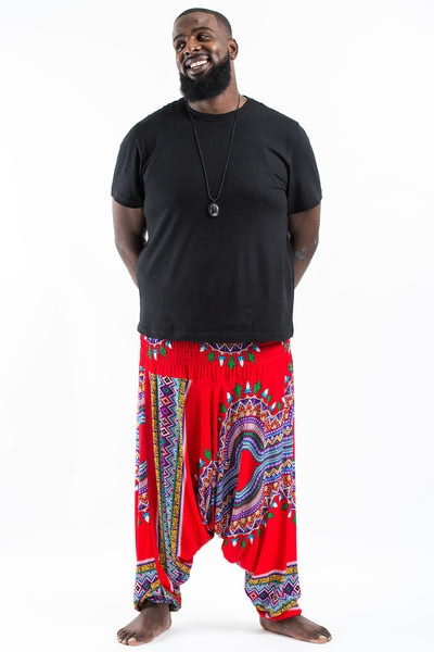 Plus Size Dashiki Prints  Drop Crotch Men's Harem Pants in Red