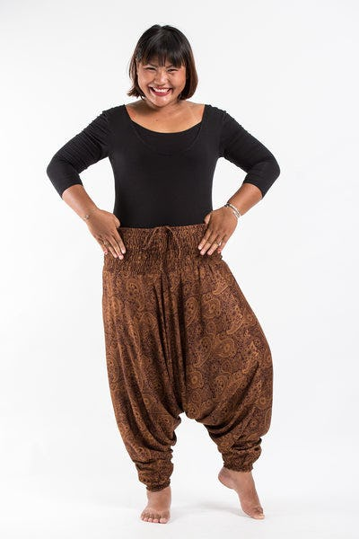 Plus Size Royal Paisley Drop Crotch Women's Harem Pants in Brown