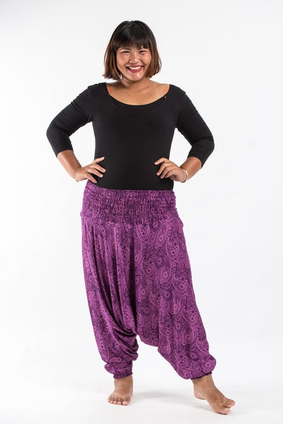 Plus Size Royal Paisley Drop Crotch Women's Harem Pants in Purple