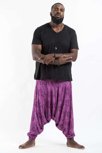 Plus Size Royal Paisley Drop Crotch Men's Harem Pants in Purple